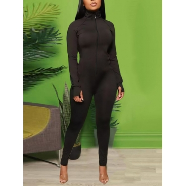 Lovely Sportswear Zipper Design Skinny Black One-p