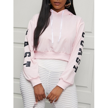 Lovely Casual Hooded Collar Letter Print Pink Hood