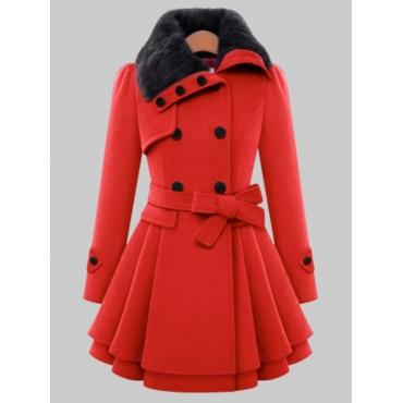 Lovely Trendy Button Fold Design Red Woolen Coat