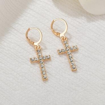 Lovely Casual Cross Gold Earring