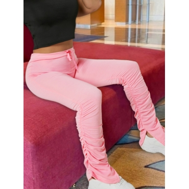 Lovely Stylish Drawstring Fold Design Pink Pants