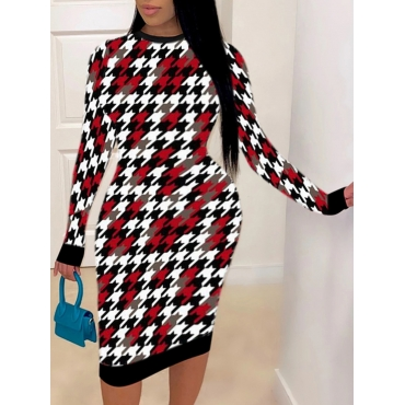 Lovely Casual Plaid Print Patchwork Red Plus Size