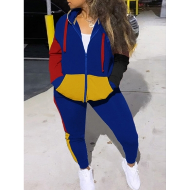 LW Sportswear Hooded Collar Color-lump Stitching Deep Blue Two Piece Pants Set