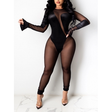 Lovely Sexy Flared See-through Patchwork Black One
