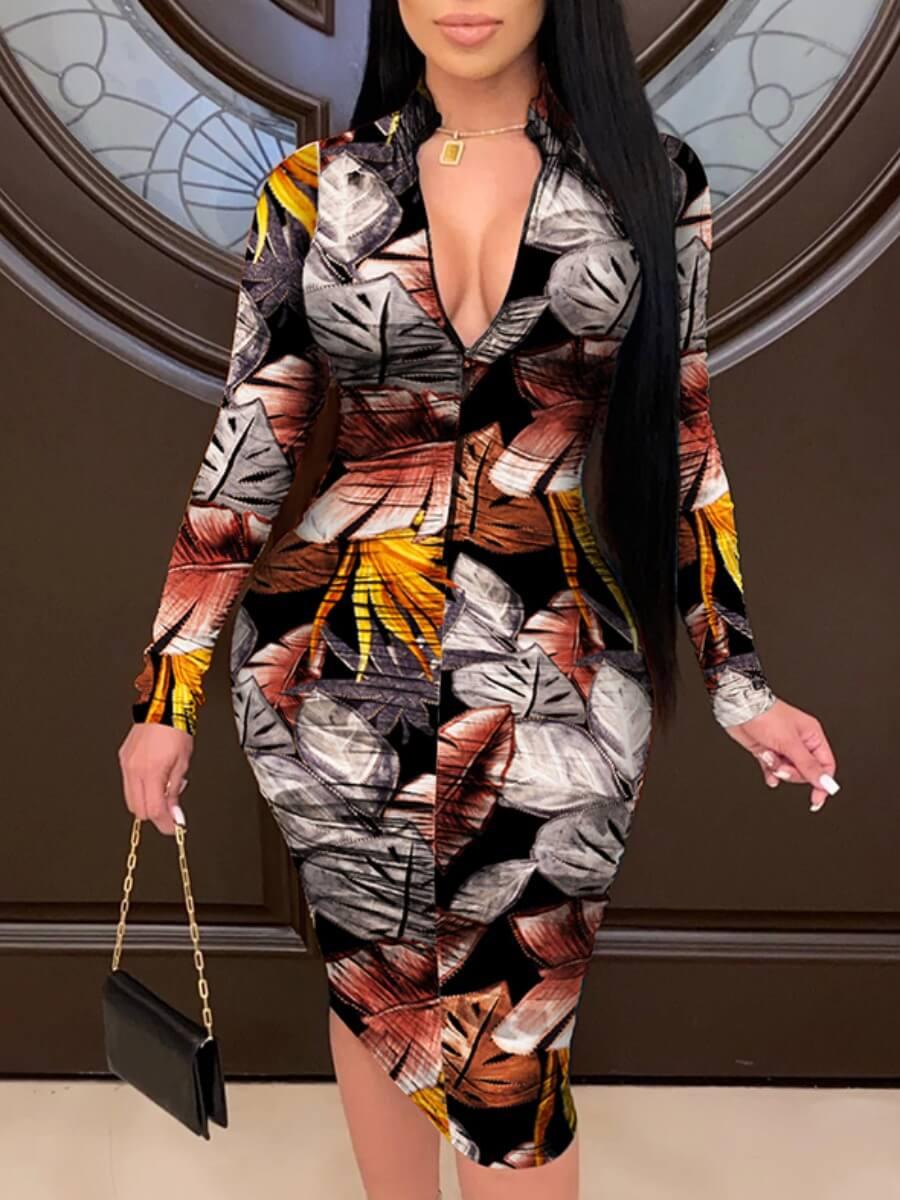 lovelywholesale / LW Lovely Street Leaf Print Patchwork Black Knee Length Dress