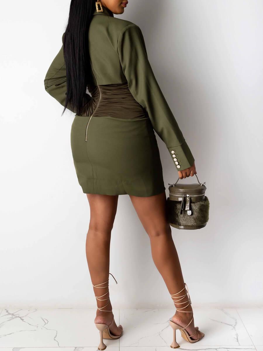 LW Turndown Collar Fold Design Dress