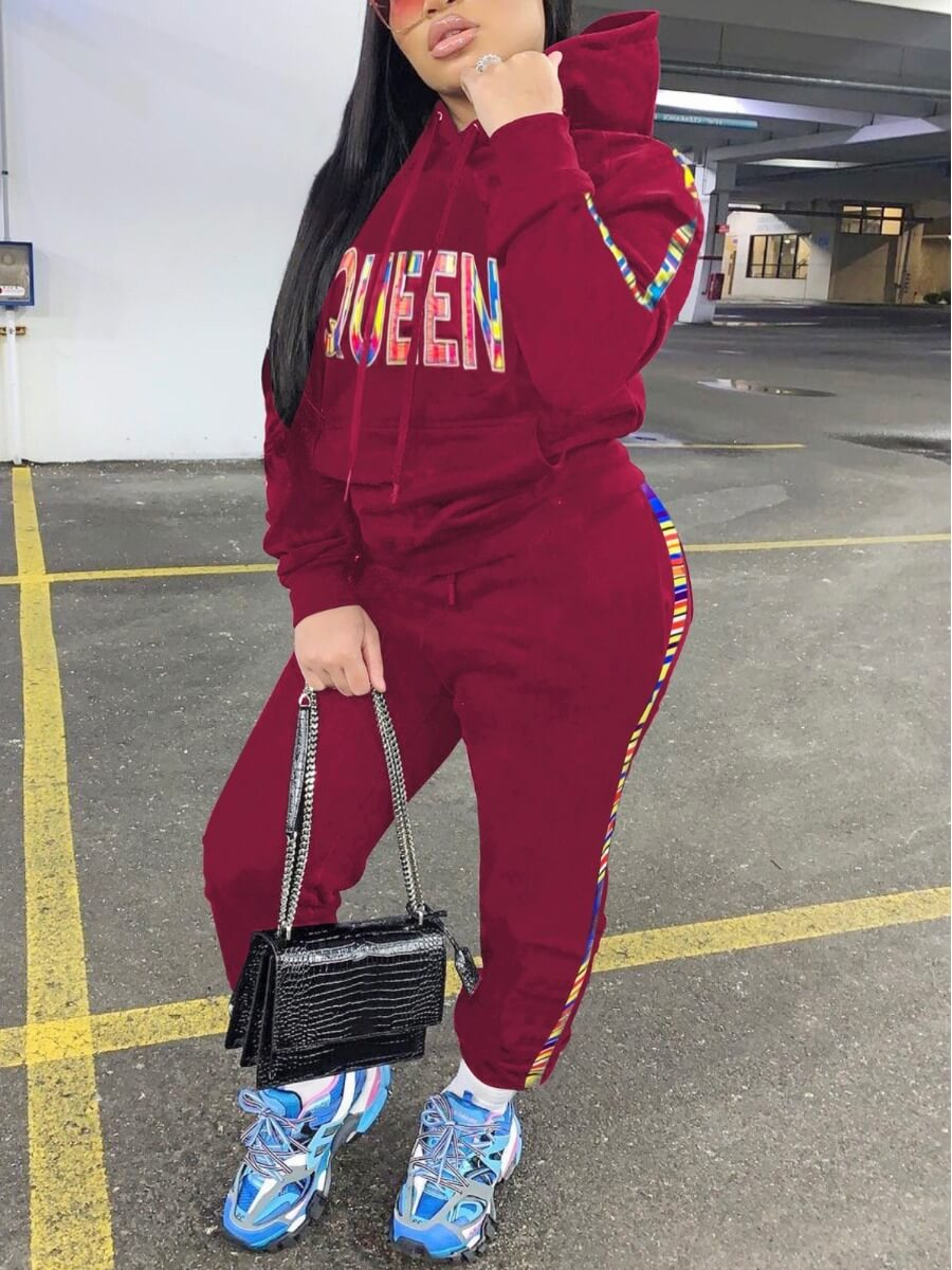 LW Sportswear Letter Print Striped Patchwork Wine Red Two Piece Pants Set