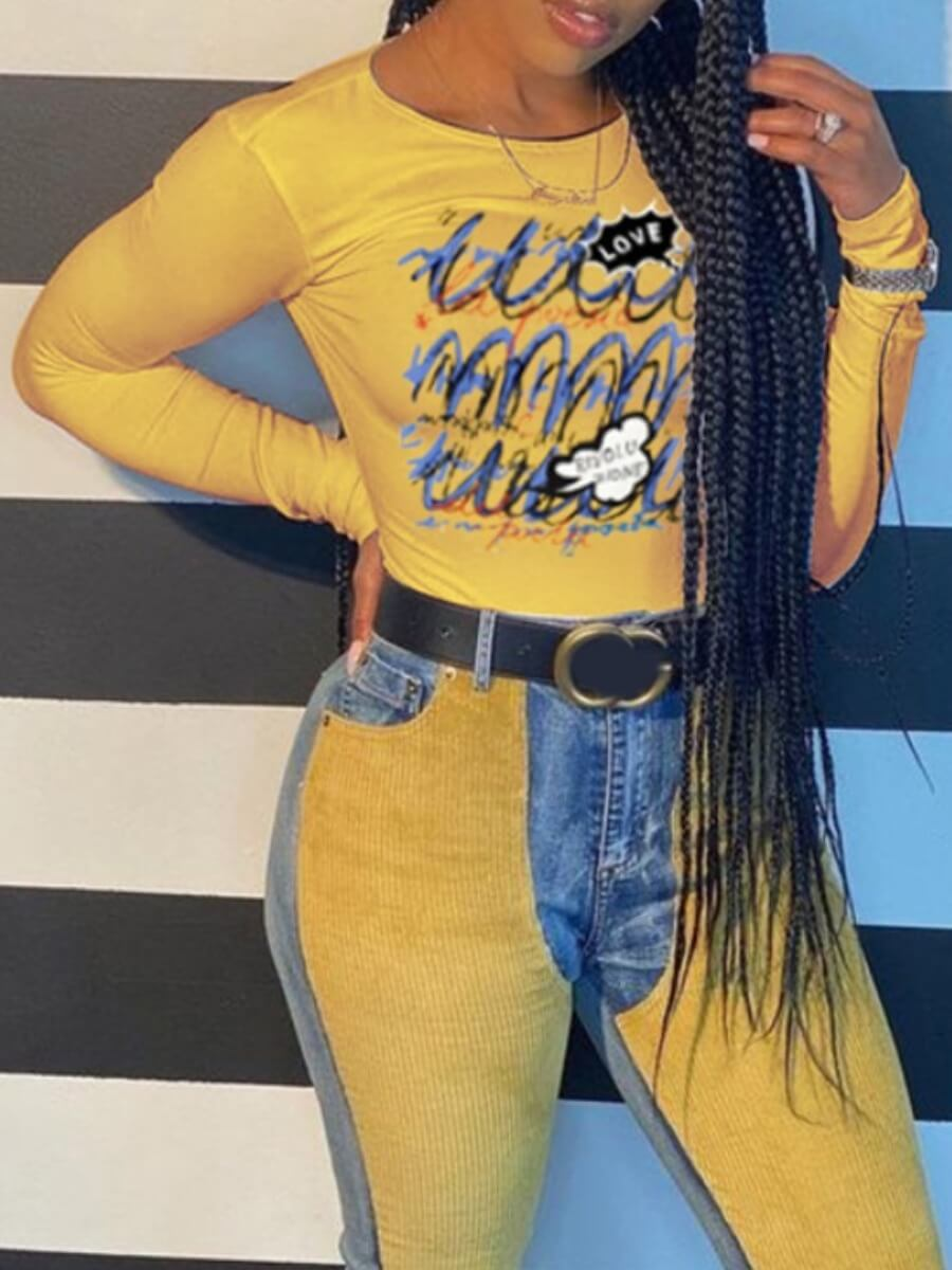 LW Graffiti Series Casual Graffiti Print Color-lump Patchwork Yellow T-shirt