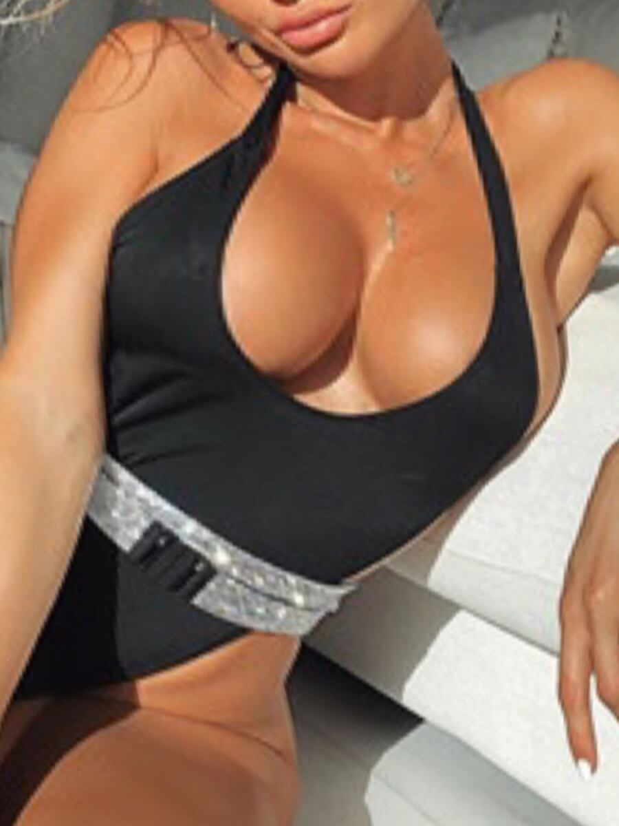 Lovelywholesale coupon: LW Casual U Neck Sequined Black One-piece Swimsuit