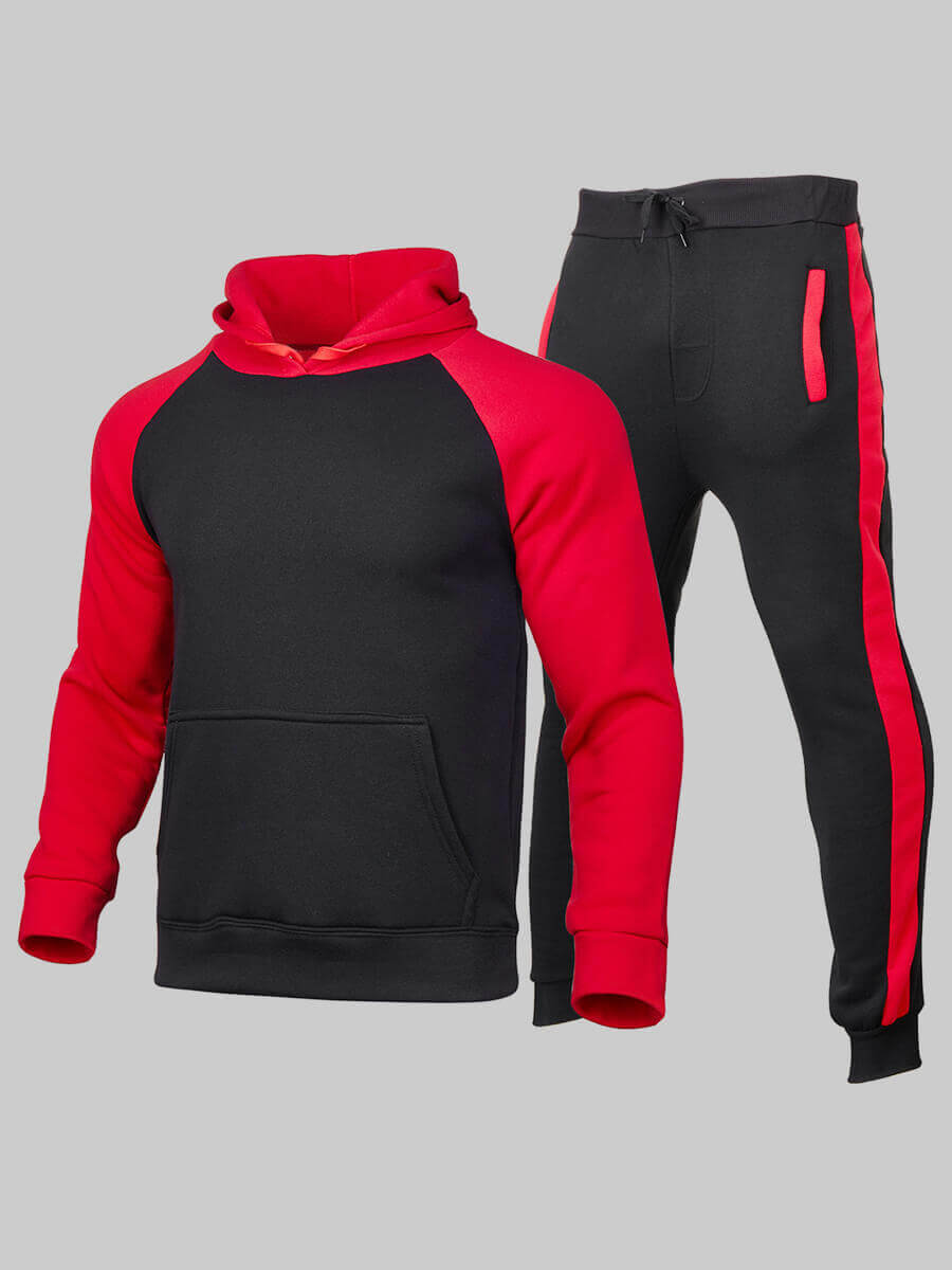 LW Men Sportswear Hooded Collar Color-lump Red Two Piece Pants Set