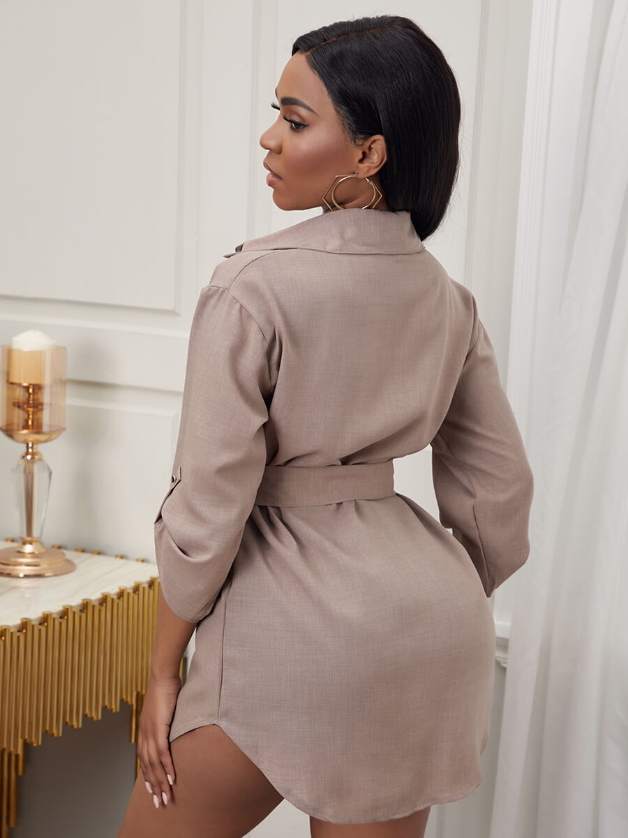 Lovely Formal Pocket Design Metal Ring Decoration Asymmetrical Khaki Mini Dress