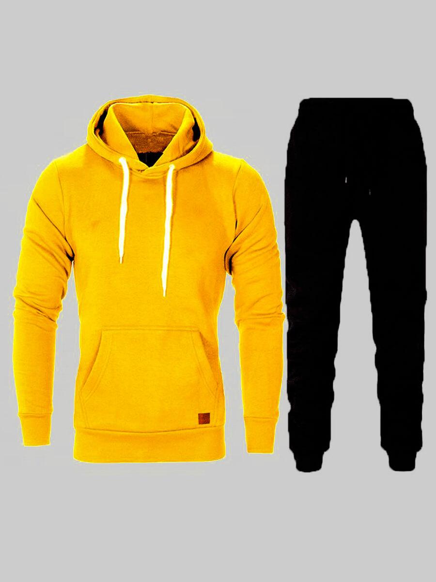 LW BASIC Men Hooded Collar Kangaroo Pocket Pants Set