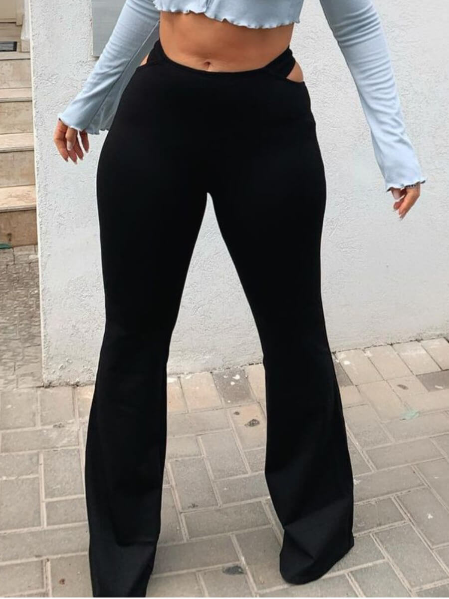 Lovely Casual Mid Waist Hollow-out Flared Black Pants
