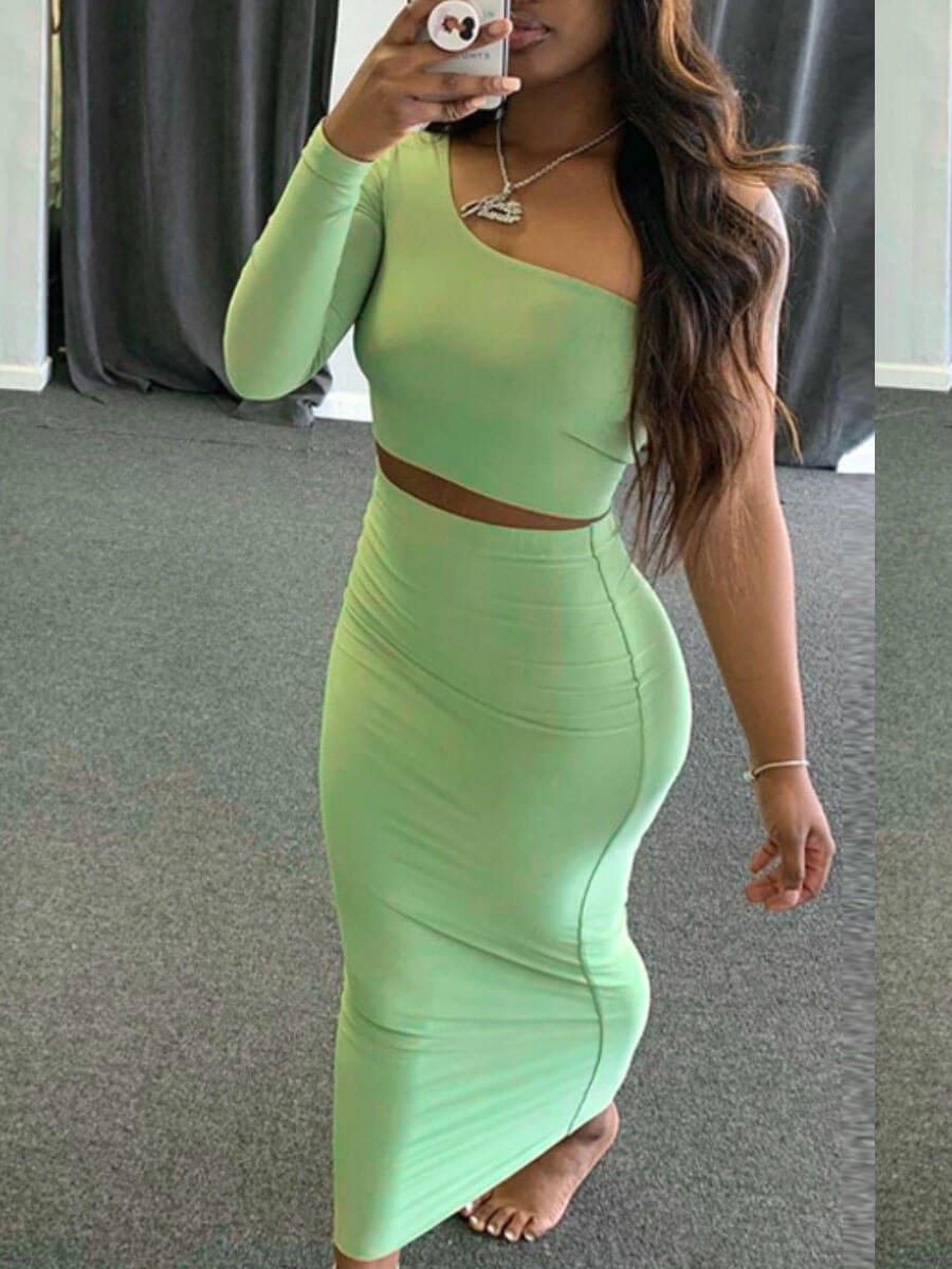 Lovely Casual One Shoulder Skinny Green Two Piece Skirt Set