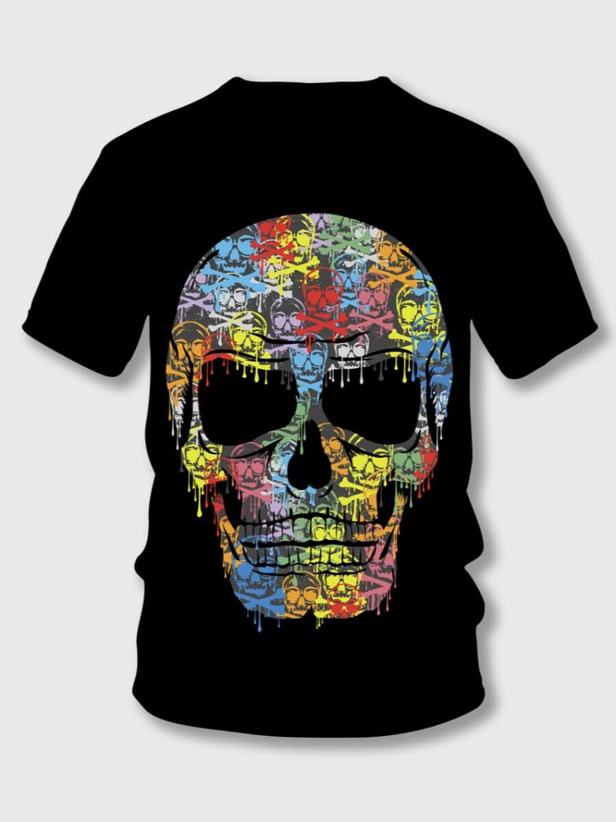 Lovely Boy Street Skull Print Patchwork Black T-shirt