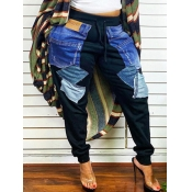 Lovely Casual Drawstring Color-lump Patchwork Black Plus Size Jeans