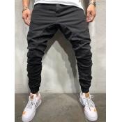Lovely Casual Mid Waist Fold Design Black Men Pants