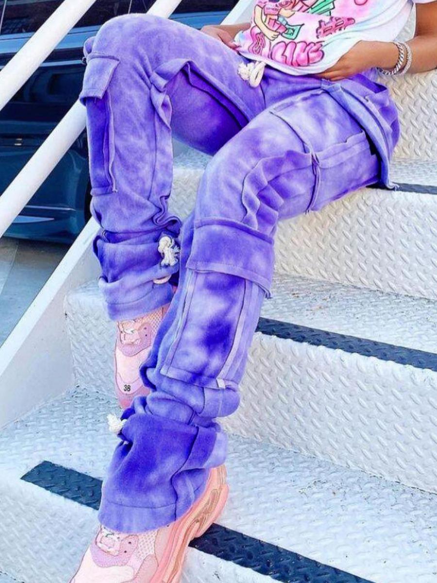 Lovely Chic Gradient Pocket Design Purple Pants