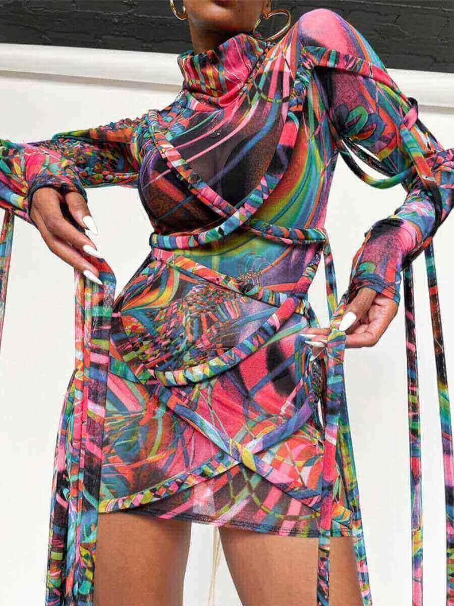 LW Street Tassel Design Mesh Print Patchwork Multicolor Mini Dress