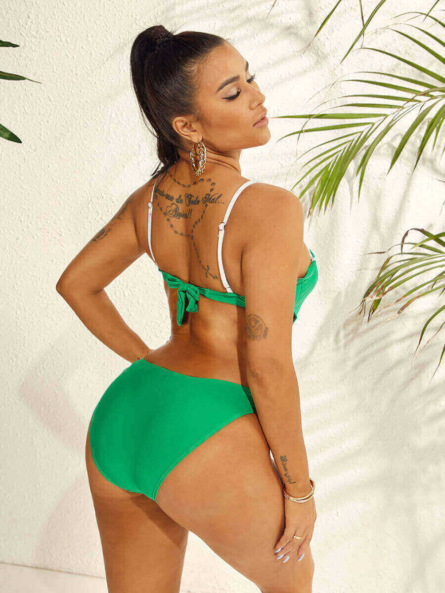 Lovely Casual Bandage Design Striped Green One-piece Swimsuit