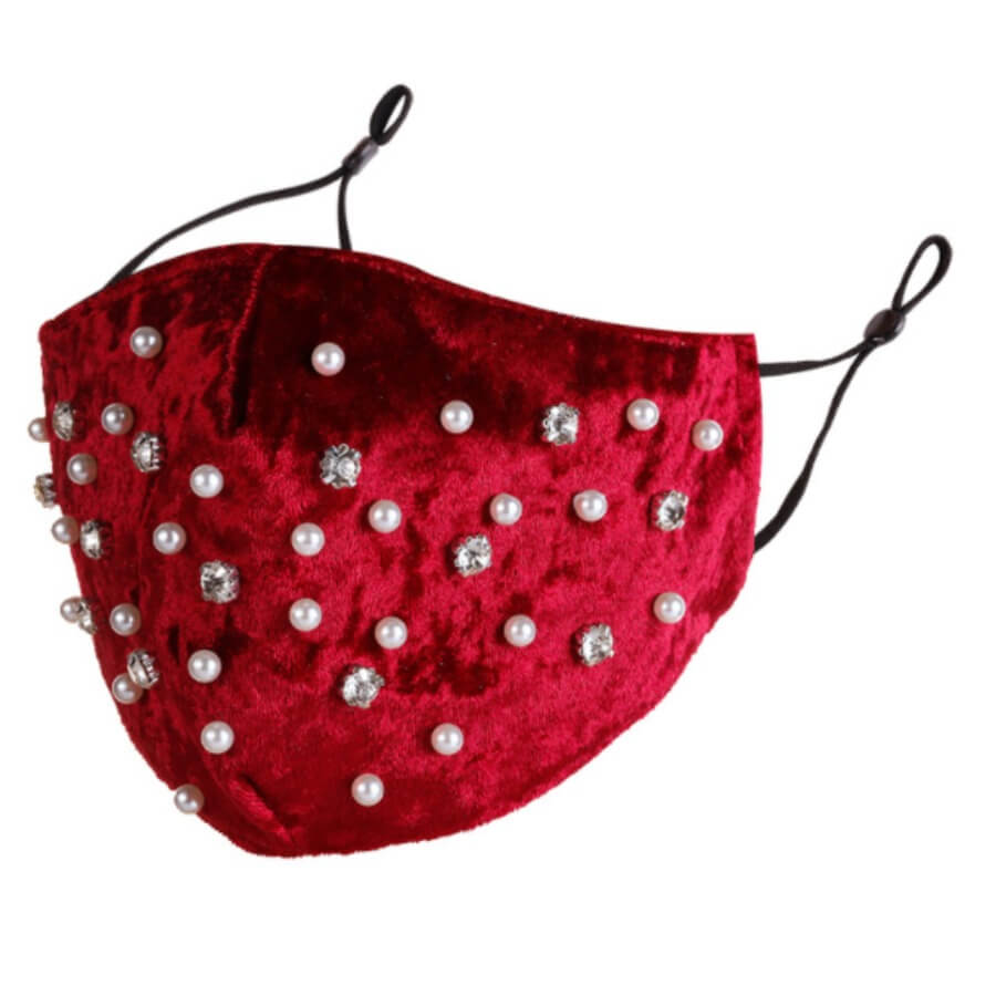 Lovely Chic Pearl Decoration Red Face Mask