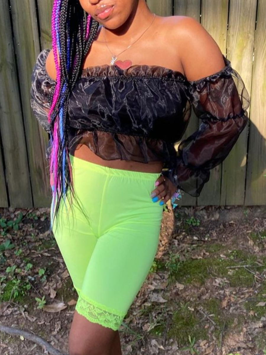 LW SXY Chic Off The Shoulder See-through Fold Design Black Two Piece Shorts Set