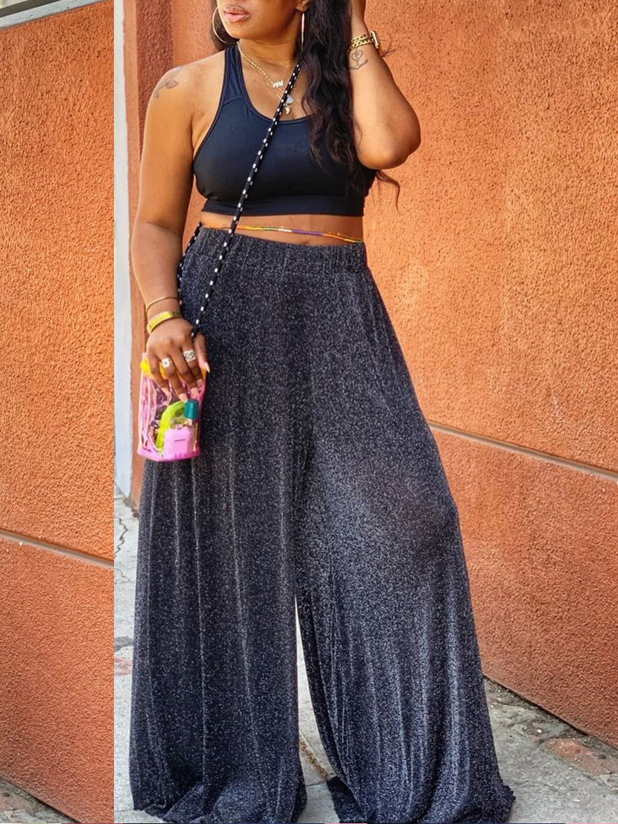 Lovely Casual U Neck Sequined Flared Black Two Piece Pants Set