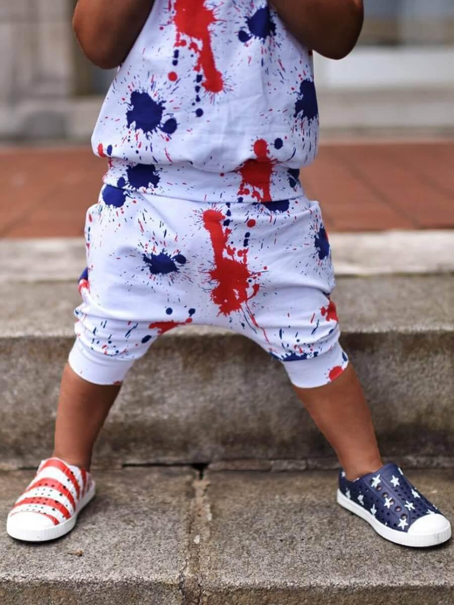Lovely Boy Street Hooded Collar Splash Ink Print White Two Piece Shorts Set