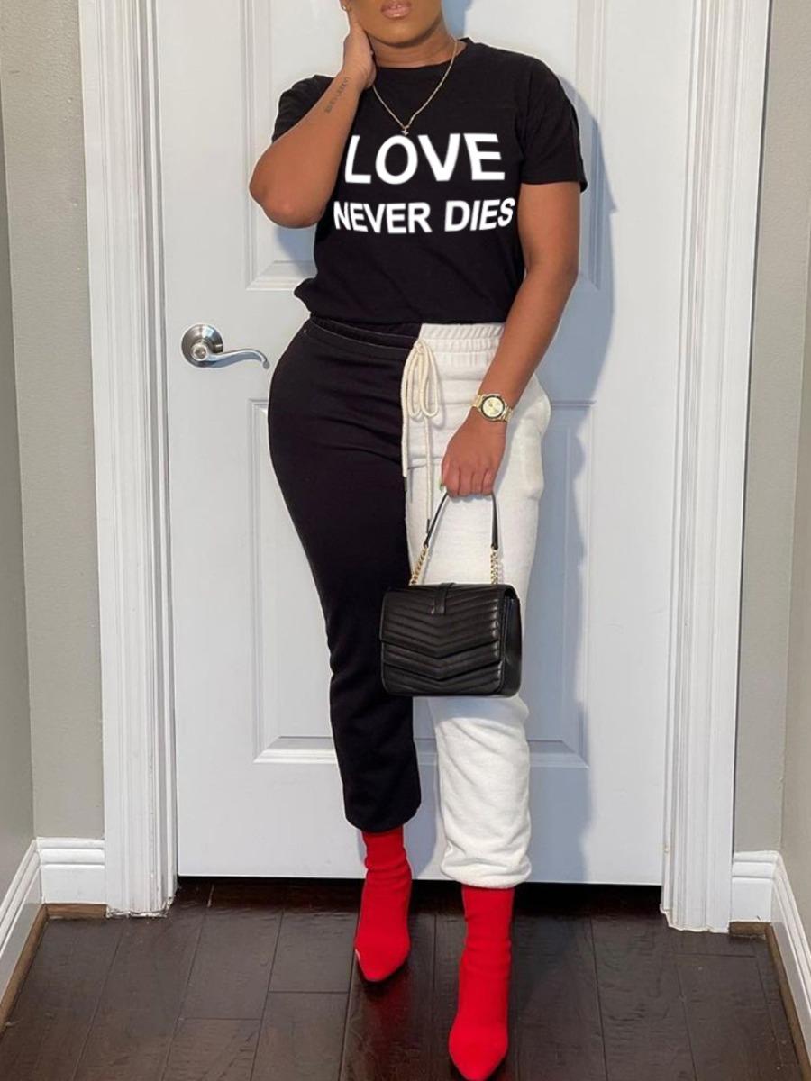 LW Trendy Letter Print Drawstring White Two Piece Pants Set