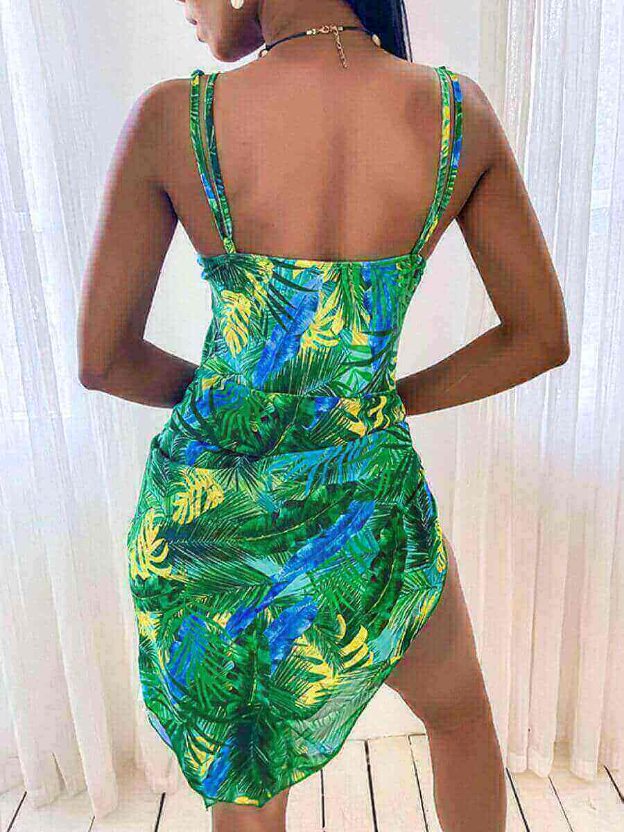 Lovely Casual Floral Print Metal Accessories Decoration Green One-piece Swimsuit
