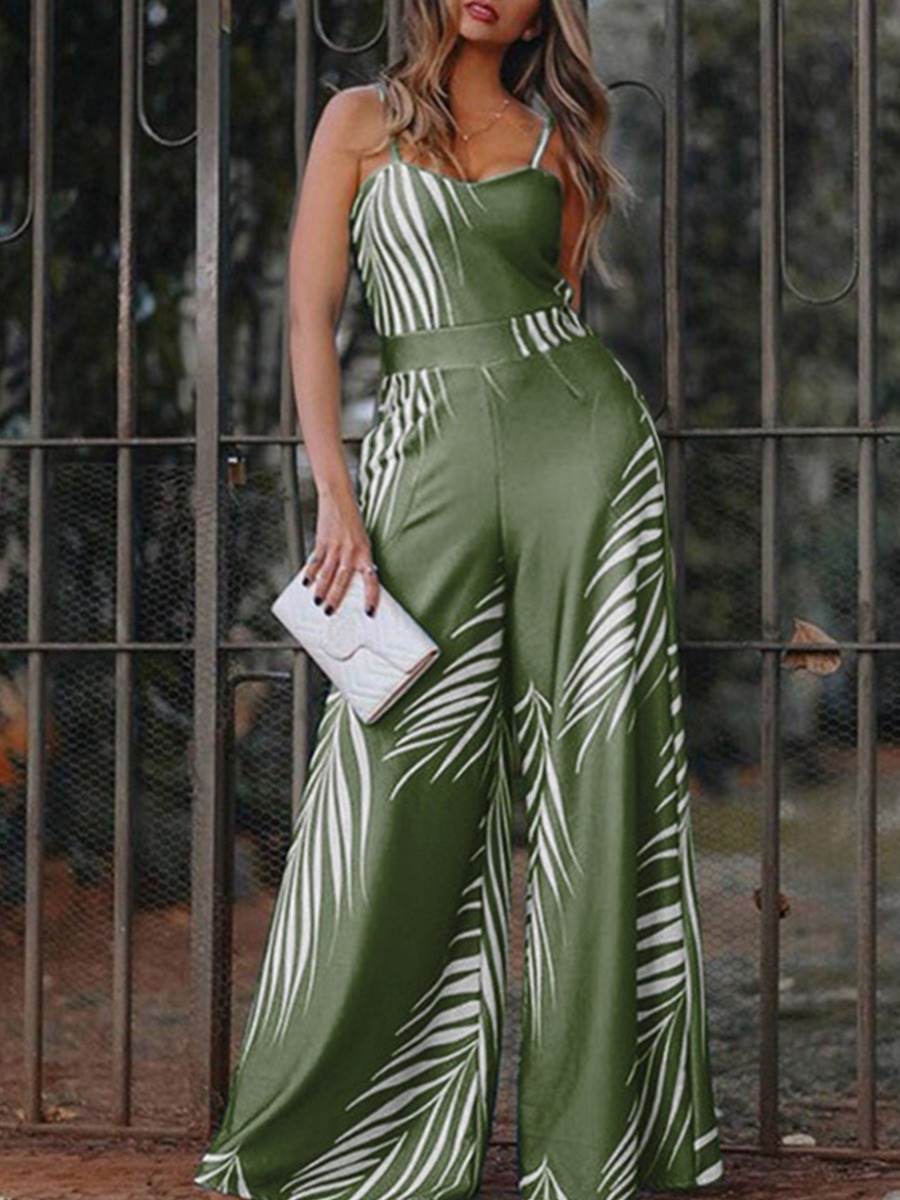 Lovely Chic Leaf Print Patchwork Loose Green Plus Size One-piece Jumpsuit