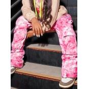 Lovely Chic Gradient Pocket Design Pink Pants