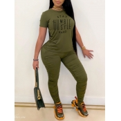 Lovely Casual Letter Print Fold Design Army Green Two Piece Pants Set