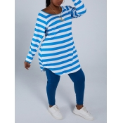 Lovely Casual Striped Patchwork Blue Plus Size Two-piece Pants Set