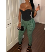 Lovely Casual Off The Shoulder Plaid Print Green Two Piece Pants Set