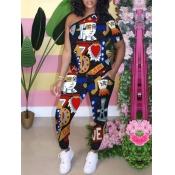 Lovely Chic One Shoulder Graffiti Print Black Two Piece Pants Set