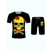 Lovely Casual Skeleton Print Black Men Two Piece Shorts Set