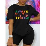 Lovely Trendy Valentines Day Letter Print Black T-shirt