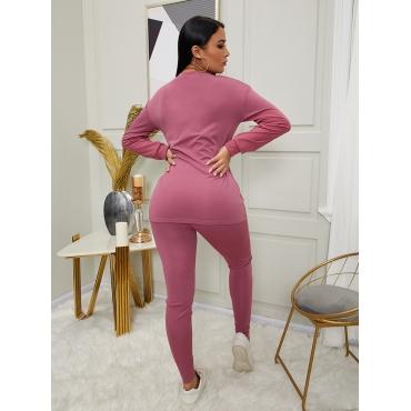 LW Round Neck Basic Skinny Pants Set