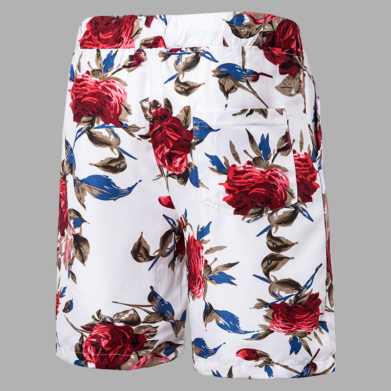 Lovely Boho Floral Print Drawstring White Men Two Piece Shorts Set