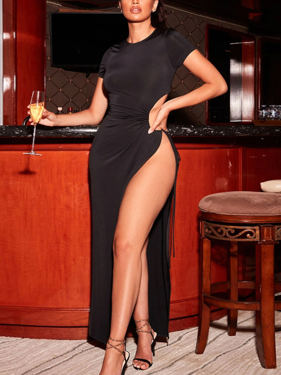 LW SXY Plus Size High Split Bandage Design Black Floor Length Dress
