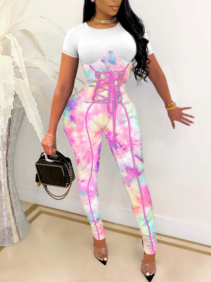 Lovely Sweet Tie-dye Bandage Design White One-piece Jumpsuit, lovely  - buy with discount