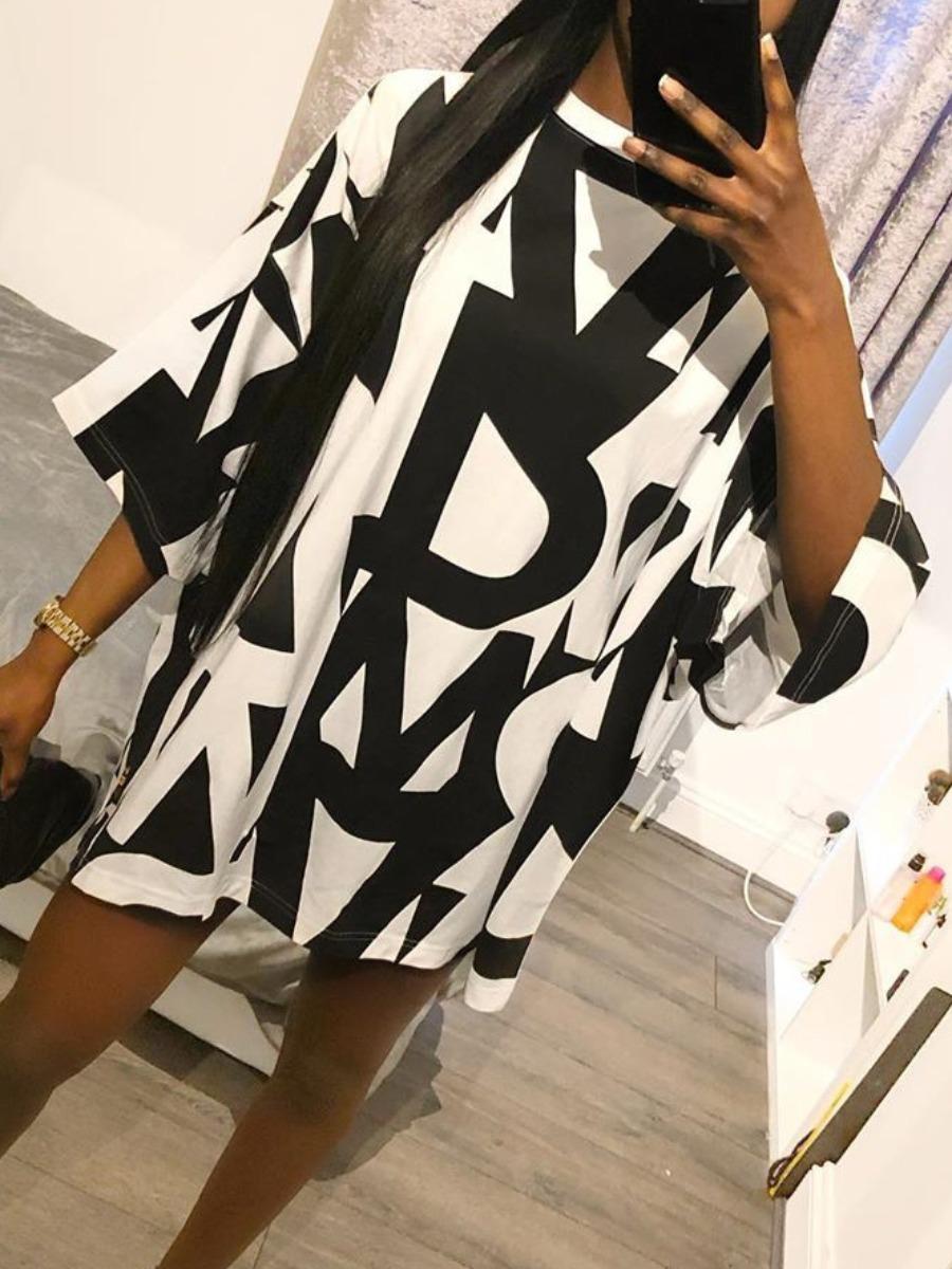 LW Street Dropped Shoulder Letter Print Black Mini Dress