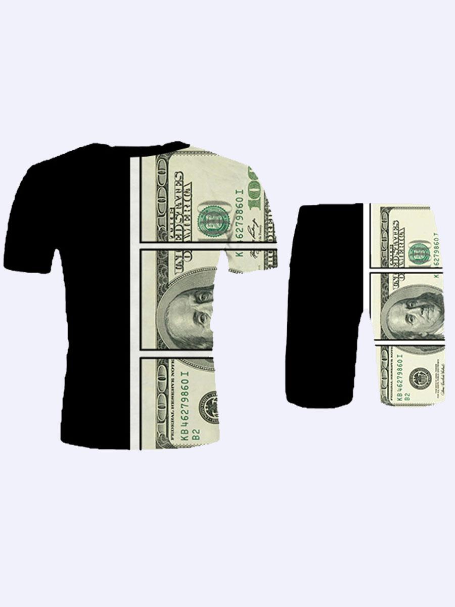 Lovely Men Street Money Print Patchwork Black Two Piece Shorts Set