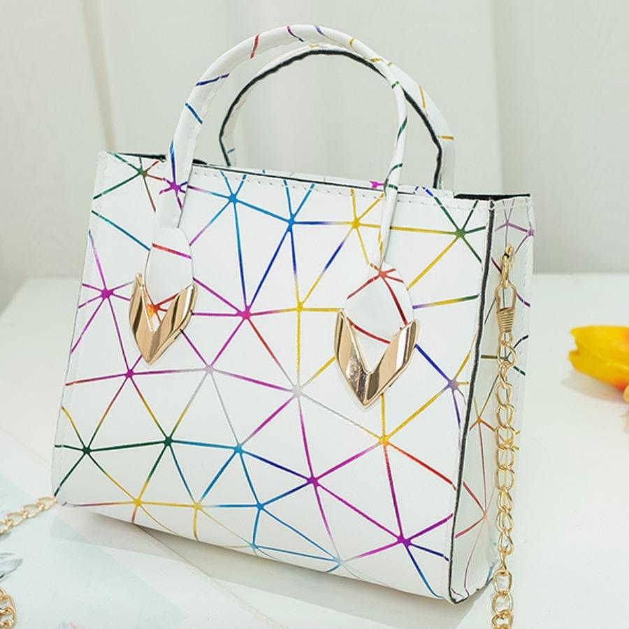 Lovely Casual Geometric Print Chain Strap White Crossbody Bag