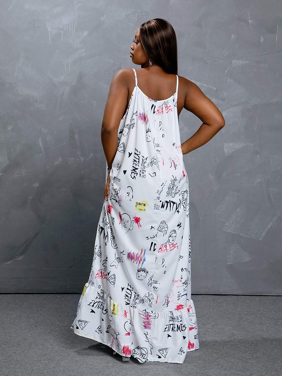 Lovely Boho Graffiti Print Flounce Design White Floor Length Plus Size Dress