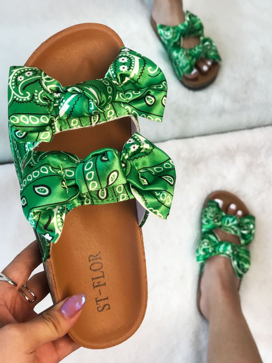 Lovely Casual Print Bow-tie Decoration Green Slippers