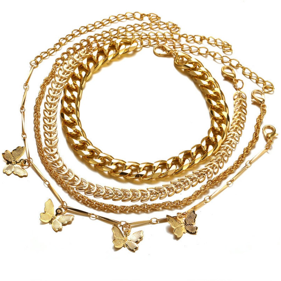 Lovely Street Butterfly Decoration Gold 4-piece Body Chain