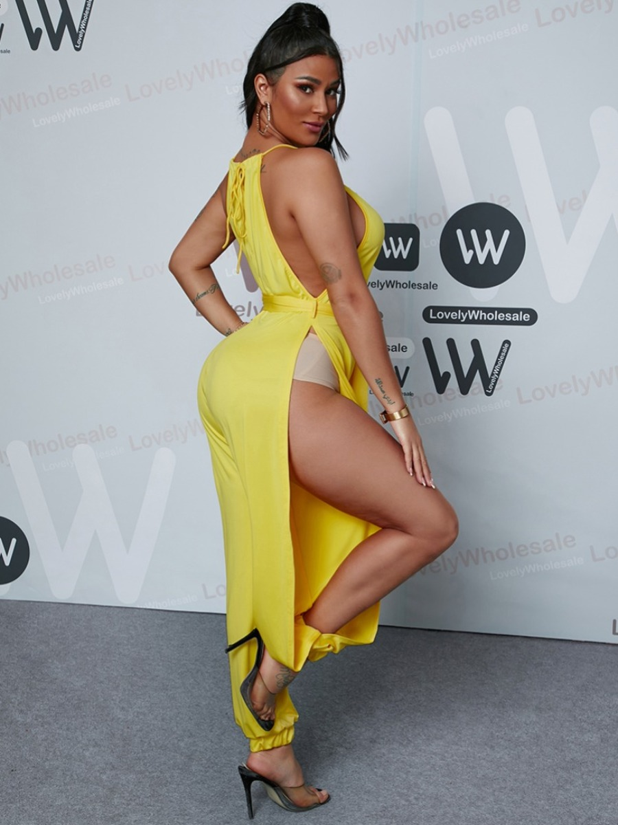 Lovely Sexy Split Bandage Design Yellow One-piece Jumpsuit