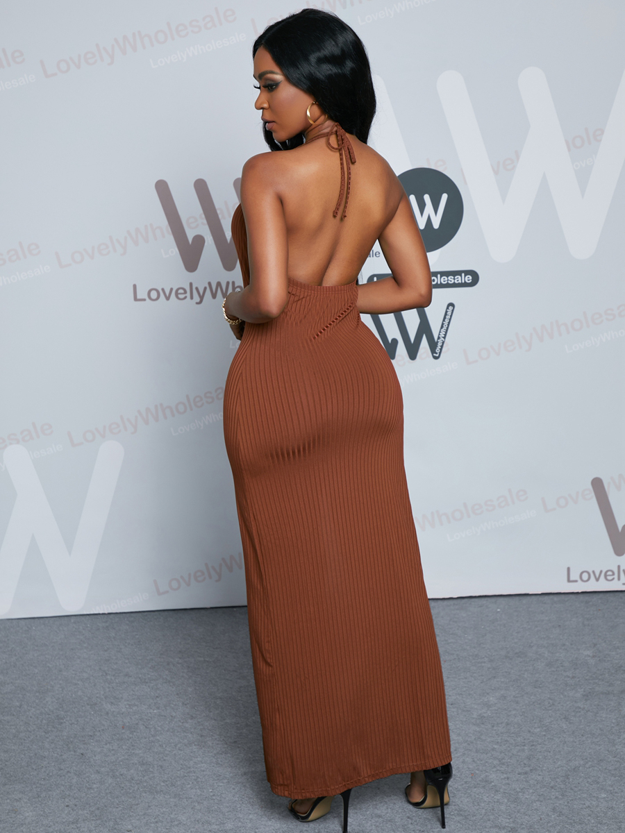 Lovely Sexy Backless Rib-Knit Split Brown Ankle Length Dress